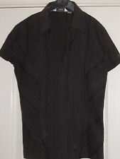 NEXT BROWN WOMEN'S SIZE 10 SLEEVELESS BLOUSE WITH SEWN STRIPES PANELLED STRETCHY