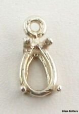 Pendant Setting - Sterling Silver Pear Cut Solitaire Pronged Setting Findings