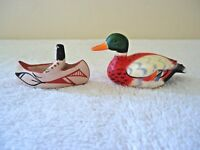 Vintage Lot Of 2 Small / Miniature Collectibles,1,Canoe,1,Made In Hong Kong Duck