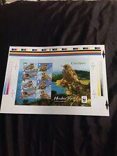Guernsey WWF PISPOLA Imperforato foglio in miniatura edizione limitata di 500