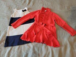 GYMBOREE Girls size 5T 5 6 Dress Cardigan set blue white orange excellent euc