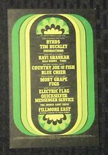 "BYRDS / MOBY GRAPE / Ravi Shankar Fillmore East 4x6.5"" Concert Post Card FVF 7.0"