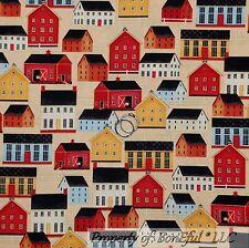 BonEful Fabric FQ Cotton Quilt Country Town Farm House Barn School Shop Antique