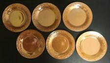 FIRE KING PEACH LUSTER OVEN WARE - LAUREL LEAF - 6 SALAD PLATES - CARNIVAL GLASS