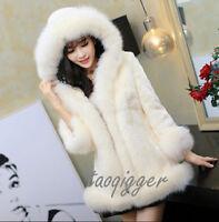 Women Luxury Faux MINK FUR Coat Hooded Long Furry Jacket Winter Warm Parka Vogue