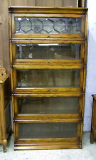 Vintage Style Oak Stacking Bookcase - 5 Section - Bevelled Glass - High Quality!