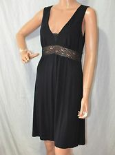 COSABELLA Little Black Dress SIZE M Lace Inlay Waist Sleeveless V-Neck Sundress