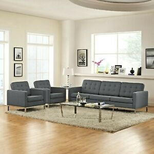 Mid-Century Modern Tufted Upholstered 3PC Sofa and Armchairs Set