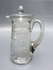 Antique pressed glass Edwardian cocktail pitcher & lid 1900 - 1910's