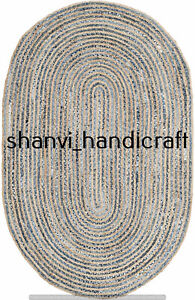 Natural Handmade Braided Rags Oval Rug Jute & Denim 3x4 Feet Rug Area Rug Carpet