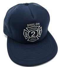 Vintage ENGINE 2 FIRE TRUCK, SHILOH, PA trucker-style blue adjustable cap / hat