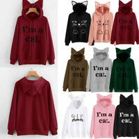 Women Cat Ear Warm Hoodie Sweatshirt Ladies Hooded Sweater Coat Jumper Pullover