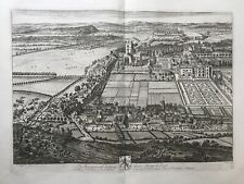 1724 Antique Print; Rare & Large; View of Nottingham after Knyff & Kip