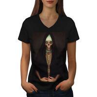 Wellcoda Zombie Religion Horror Womens V-Neck T-shirt, Scary Graphic Design Tee