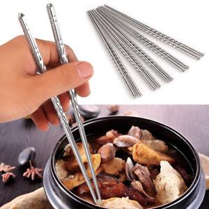 5 Paar Essstäbchen Esstäbchen Chinesische Stäbchen Chopsticks Edelstahl DE