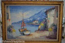 Original Vintage Dutch Bevort Camprio Mediterranean Seascape Boat Oil Painting