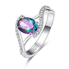 New Engaement Oval Cut Rainbow & White Topaz & Ruby Gemstone Silver Ring Fashion