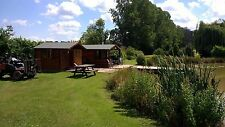secluded romantic  log cabin  carp fishing  lake,  short break holiday glamping