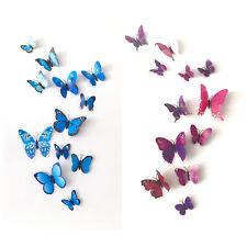 3D Schmetterlinge 12 Stück blau lila Wandtattoo Aufkleber Sticker Magnet Flügel