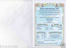 50th 60th 70th History Certificate Personalised Birthday Card + Envelope