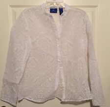 j.h.collectibles woman sheer Long sleeve button front Blouse Woman's size Large