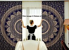 Blue Gold Ombre Mandala Window Curtain Drape Panel Scarf Valance Indian Curtains
