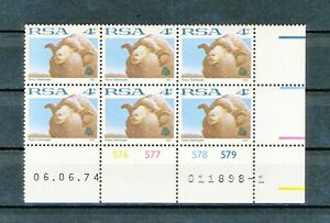 South Africa /  One 4 Cent Control block of six  from 1974