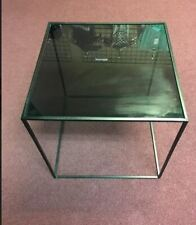 Bloomingville Square Metal Table with Smoke Glass Top BLACK
