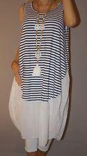 Italy Kleid Long Top Streifen Blogger Strand Tunika Ballon M 38 - 44 XL Weiß