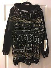 VICTORIA JONES Women's Knit  Sweater Size L Cowl Neck Gold Beading