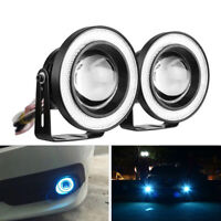 "3.5"" LED Fog Lights Front Bumper Blue Angel Eye Halo Ring Projector Offroad 2PCS"