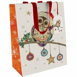 Bug Art Kooks Christmas Owl  Large Gift Bag with Tag & Green Ribbon Handles
