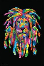 LION - RASTAFARI POSTER - 24x36 SMOKING WEED HEADPHONES RASTA 10910