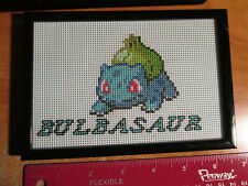 HANDMADE Pokemon BULBASAUR Framed STITCH DESIGN Card Art #001 Base Set 44/102