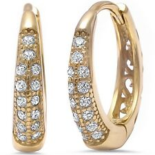 Sterling Silver Hoop Earring Yellow Gold Plated Cz .925