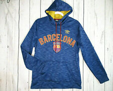 UMBRO Barcelona FC Soccer Men's Blue Hoodie Pullover w/Pouch Size Small EUC