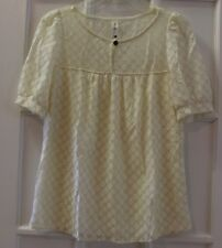 Pink Owl Apparel womens size Small BLOUSE cream gold USA sheer metallic keyhole