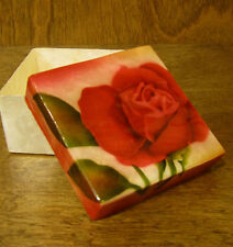 """Kubla Crafts CAPIZ Box #KC1739 RED ROSE, 1.5"""" x 3""""  NEW From Retail Store"""
