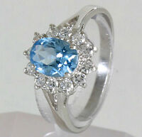 925 ECHT SILBER RHODINIERT ☆ Ring Zirkonia aquamarin blau hellblau Größenauswahl