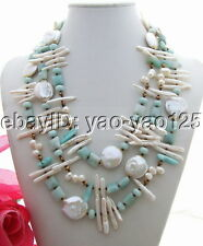 Q081401 Stunning! Pearl&Amazonite&Crystal Necklace
