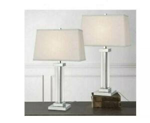 Bridgeport Designs Chrome Lamps 27-inch Table Top Crystal Panel Set of 2