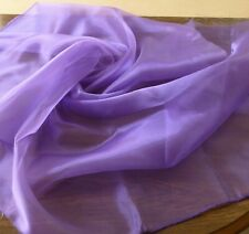 "Purple shiny Chiffon Fabric 2 selfedges 58"" wide X 1 yard Long w Matching Thread"