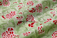 2.5 Yard Indian Running Sewing Cotton Fabric Print Green Floral Decor Hand Block