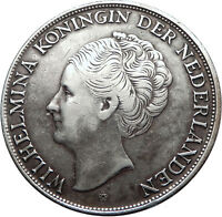 1944 CURACAO Netherlands Kingdom Queen WILHELMINA Silver 2.5 Gulden Coin i73810