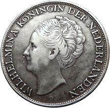 1944 CURACAO Netherlands Kingdom Queen WILHELMINA Silver 2.5 Gulden Coin i73810