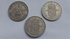 3 x Queen Elizabeth II / George V One Shilling Coins Scottish designs 1948/61/65