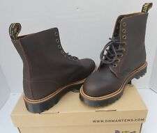 Dr Martens Pascal II Dark Brown Leather Combat BOOTS Shoes Size US 8 EUR 39 NWB
