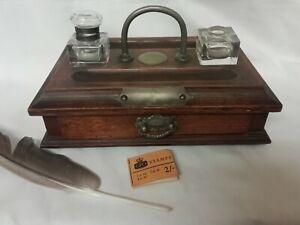 Antique Victorian Oak Desktop Stationary Box Double Inkwell Pen Holders Drawer