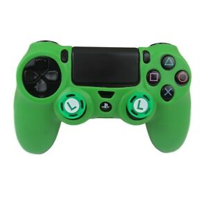 Silicone Grip Green Shell Cover + 2 Multi Thumb Grips For PS4 Controller