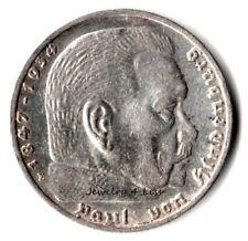 One (1) WW2 German 5 Mark Silver Coin Third Reich Reichsmark Hindenburg